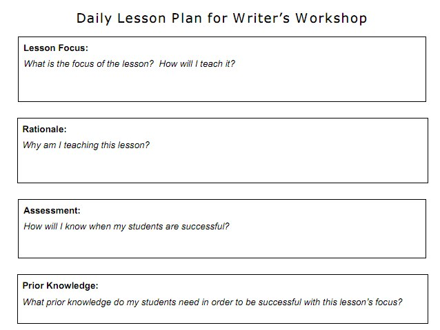 Daily Lesson Plan template using boxes to define and categorize QD28Dbg7